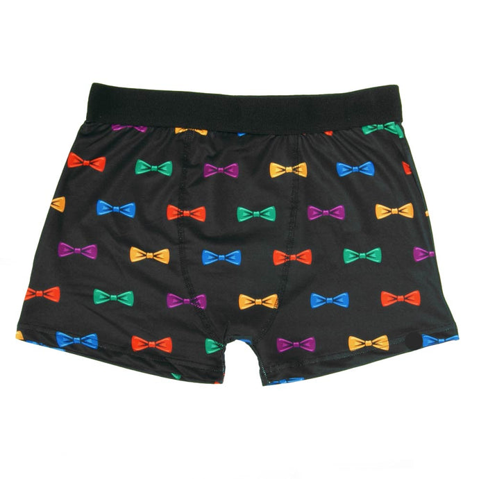Black boxer briefs with a colorful repeated bow tie pattern