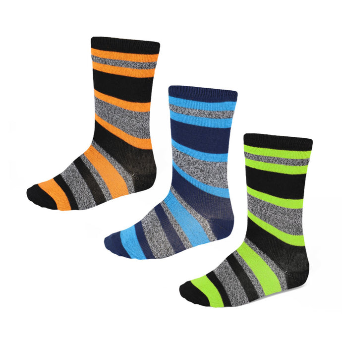 Boys' 3-pack striped socks in bright colors