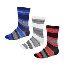 Load image into Gallery viewer, Boys' striped socks in a 3 pack of classic colors