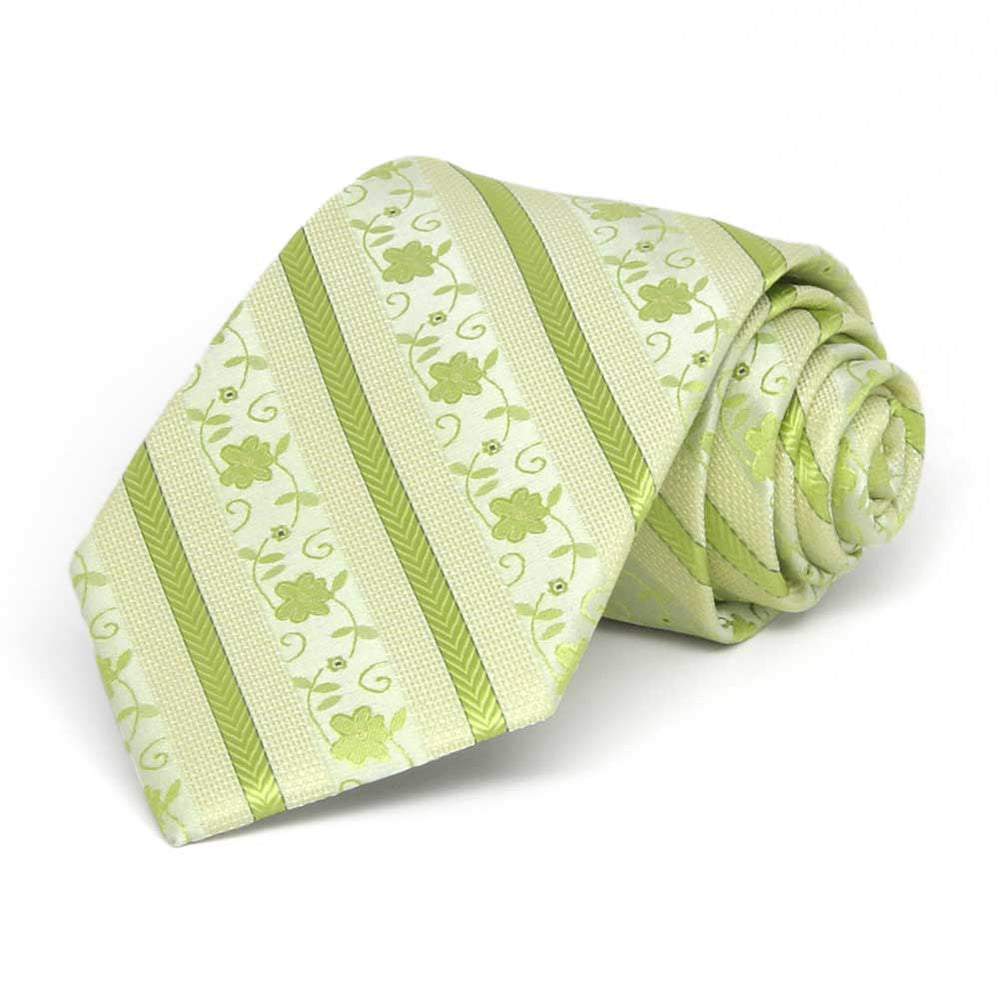 Boys' Apple Green Anna Floral Stripe Necktie