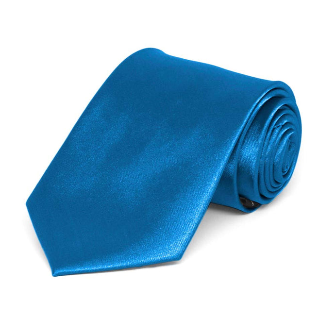 Boys' Azure Blue Solid Color Necktie
