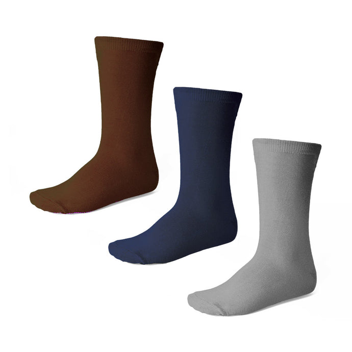 Boys' crew socks in brown, navy blue and gray