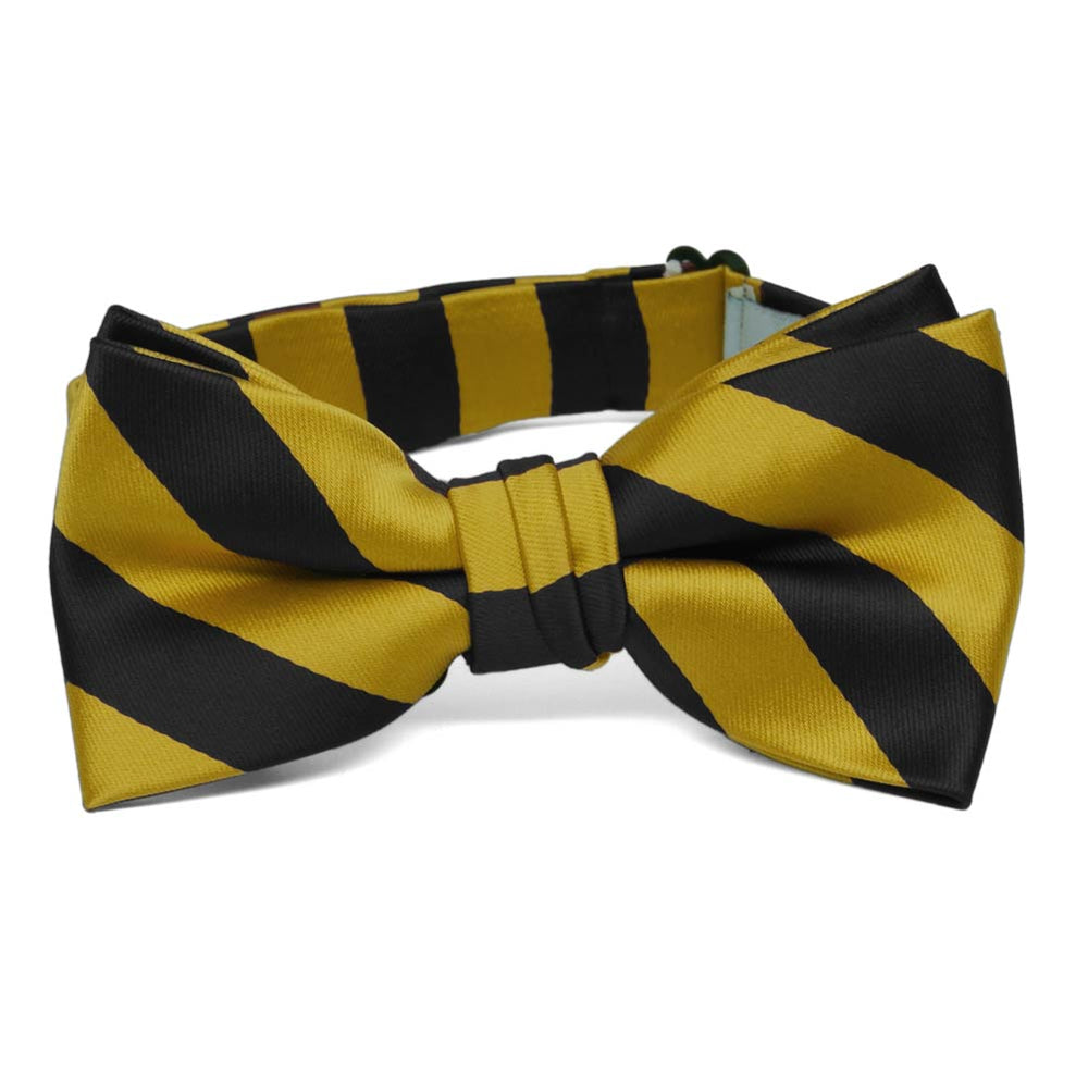 TieMart Boys Red and Golden Yellow Striped Bow Tie