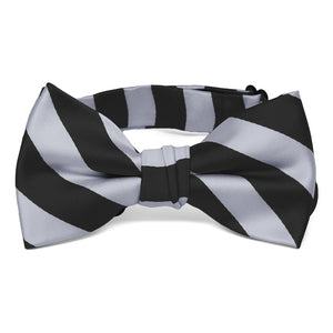 Boys' Black and Silver Striped Bow Tie