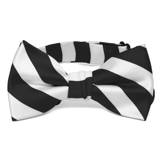 Boys' Black and White Striped Bow Tie