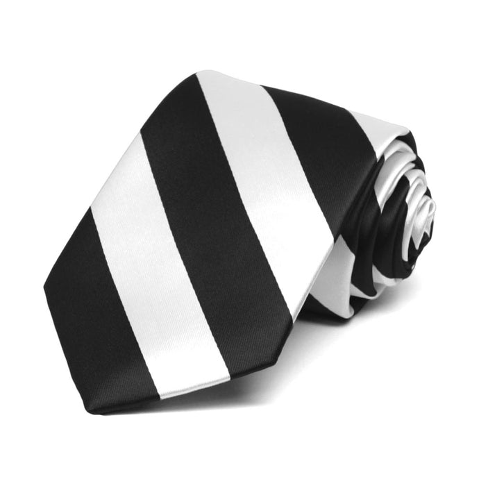 Boys' Black and White Striped Tie