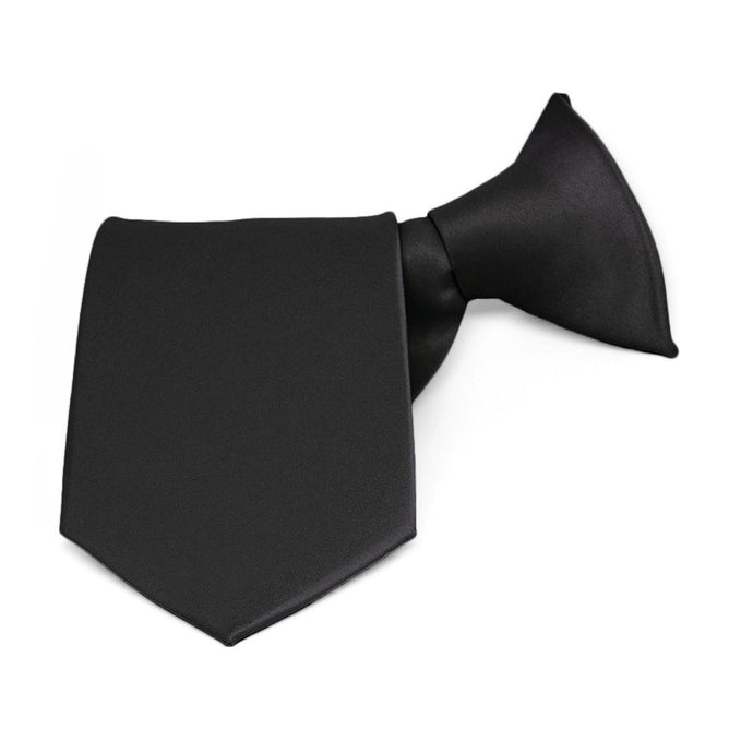 Boys' Black Solid Color Clip-On Tie