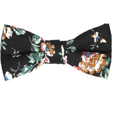Load image into Gallery viewer, Boys black floral bow tie