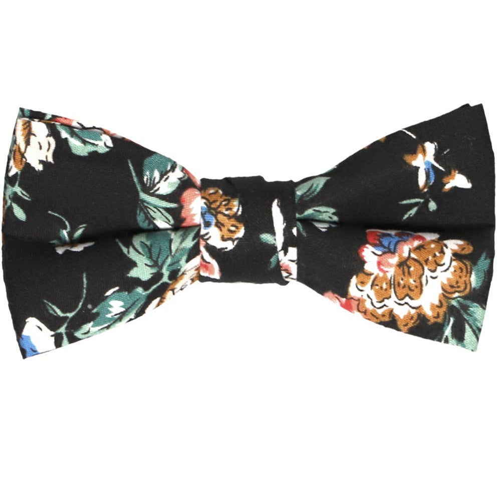 Boys black floral bow tie