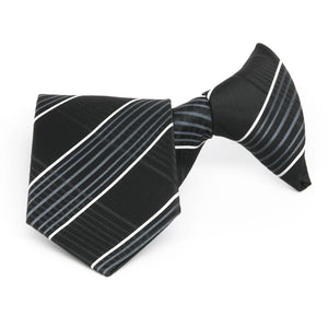 Boys' Black Jeffrey Plaid Clip-On Tie