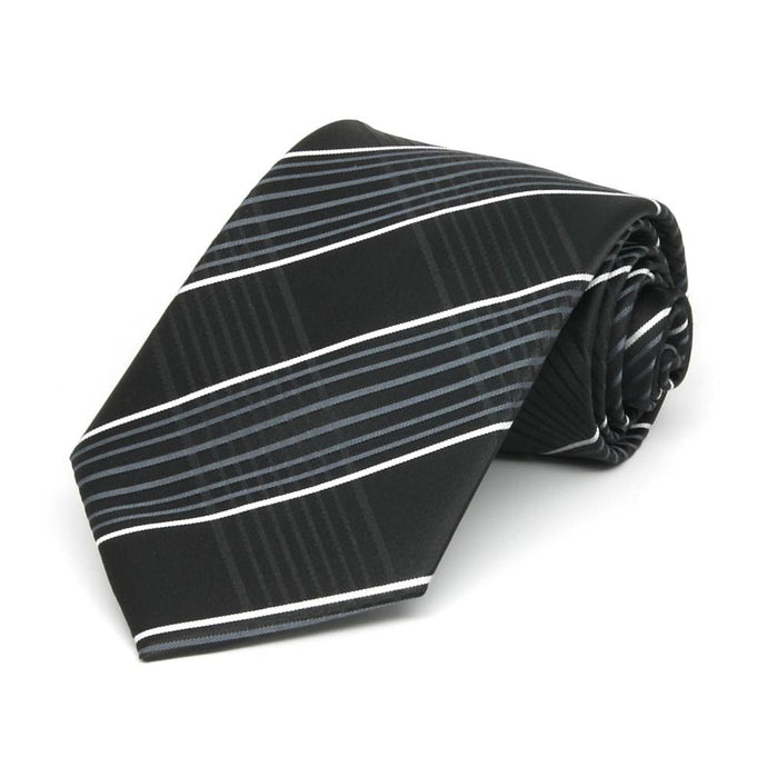 Boys' Black Jeffrey Plaid Necktie