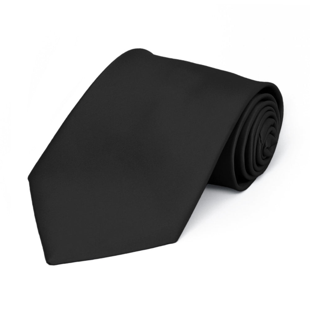 Boys' Black Premium Solid Color Tie