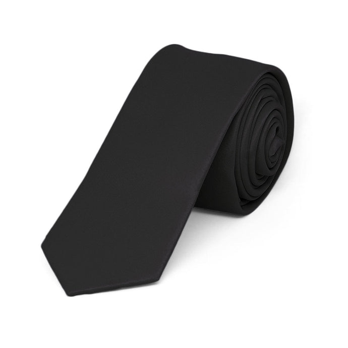 Boys' Black Skinny Solid Color Necktie, 2