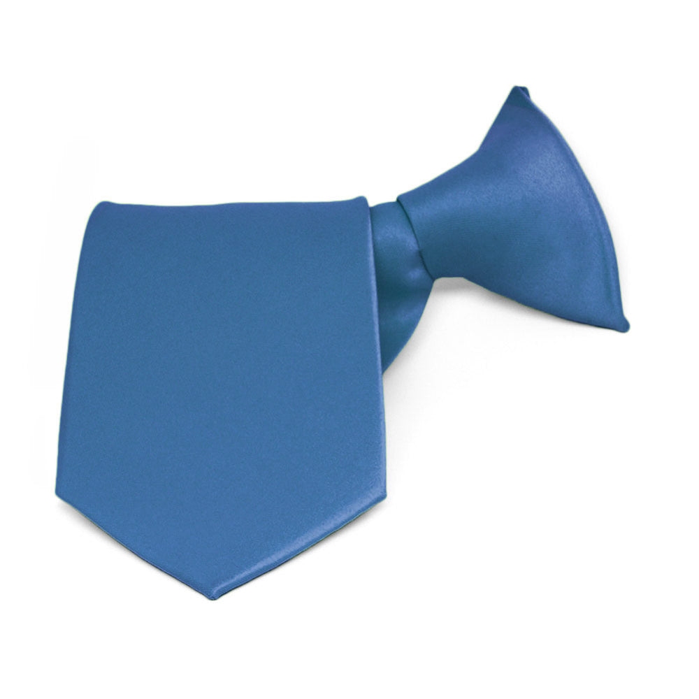 Boys' Blue Solid Color Clip-On Tie