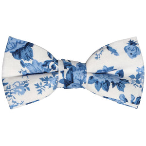 Boys blue and white floral bow tie