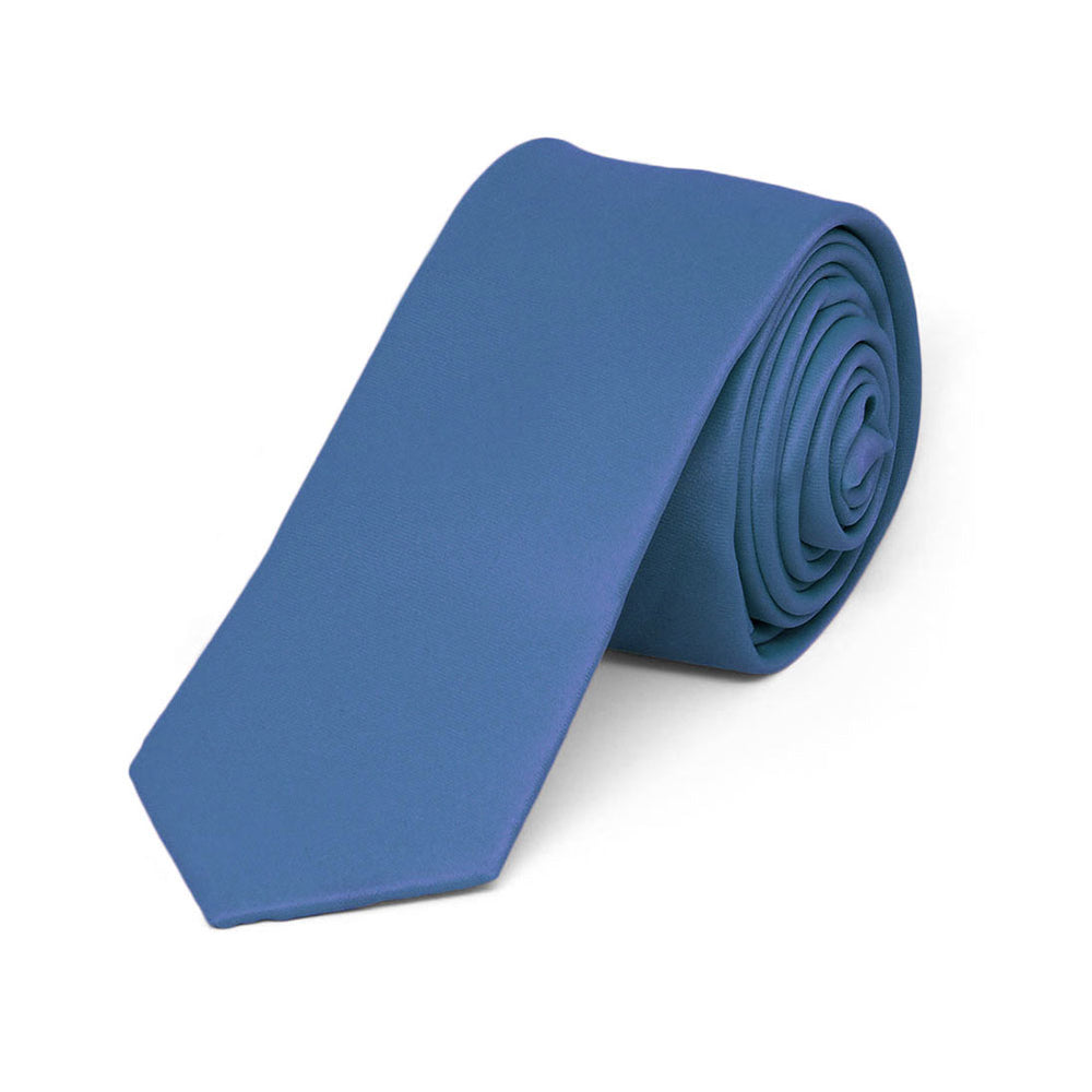 Boys' Blue Skinny Solid Color Necktie, 2