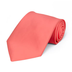 Boys' Bright Coral Premium Solid Color Tie
