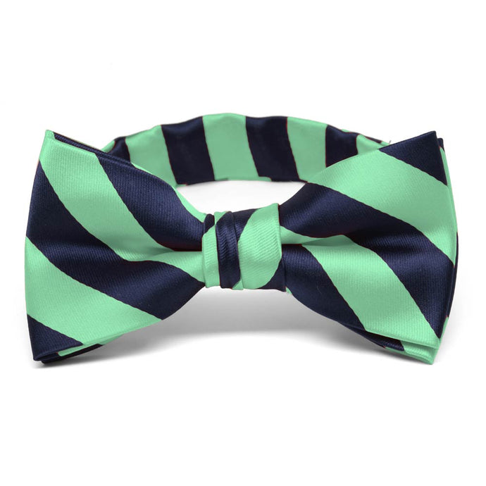 Boys' Bright Mint and Navy Blue Striped Bow Tie