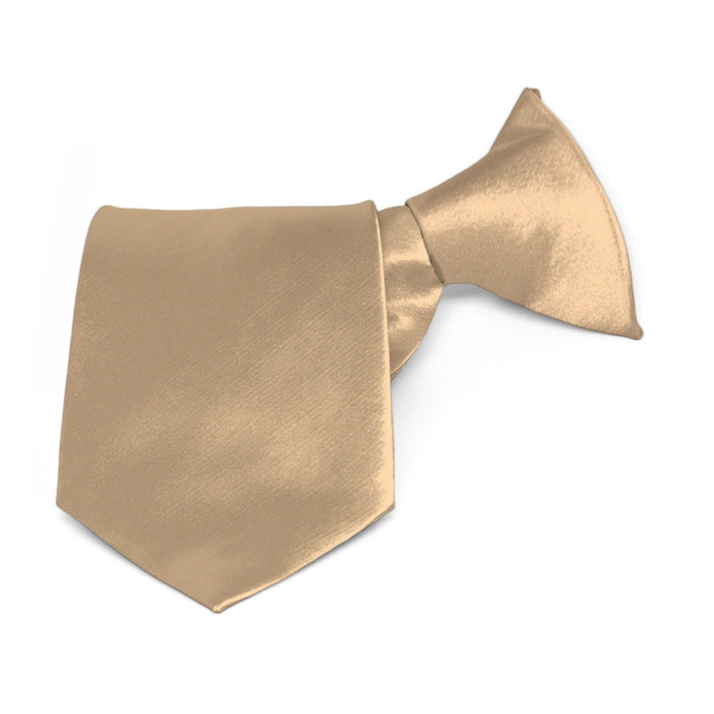 Boys' Bronze Solid Color Clip-On Tie, 8