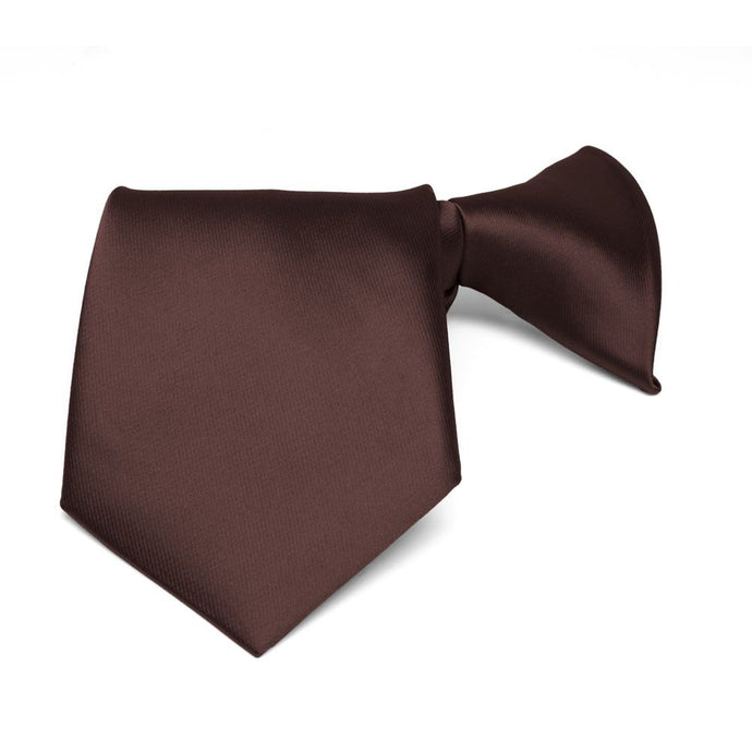 Boys' Brown Solid Color Clip-On Tie