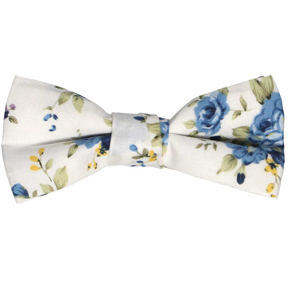 Boys' blue and white floral bow tie