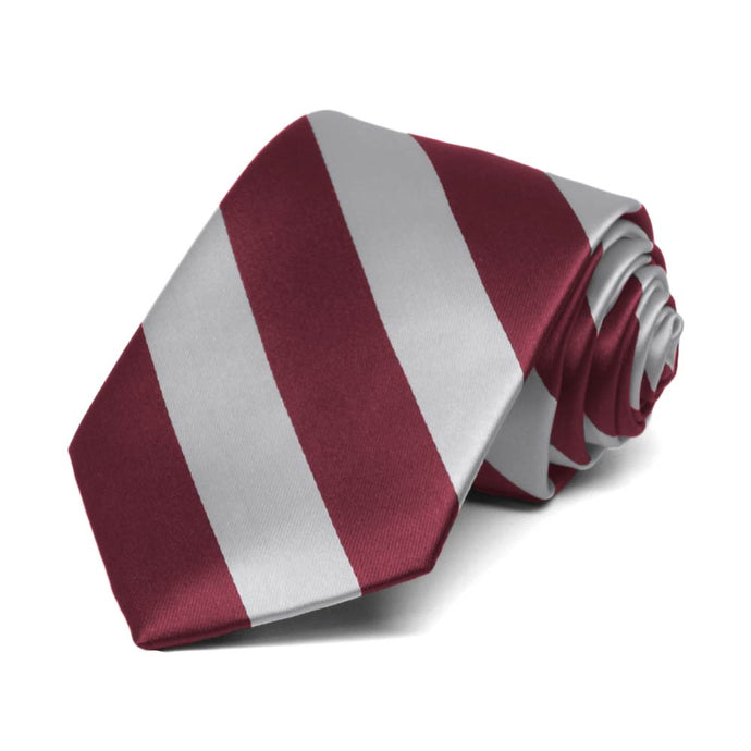Boys' Burgundy and Silver Striped Tie