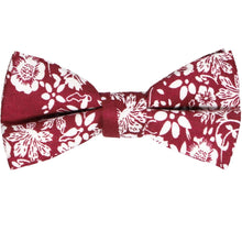 Load image into Gallery viewer, Boys' burgundy and white bow tie