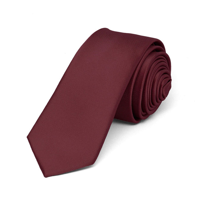 Boys' Burgundy Skinny Solid Color Necktie, 2