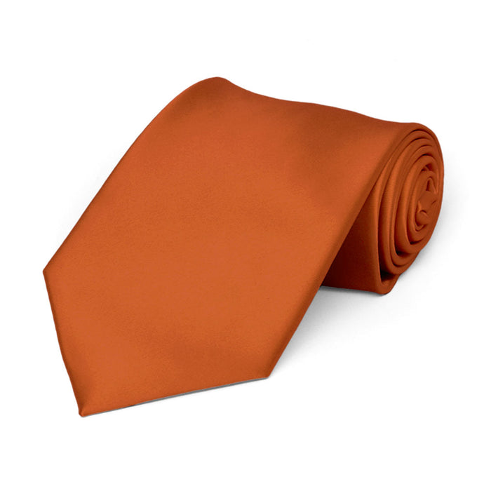 Boys' Burnt Orange Premium Solid Color Tie