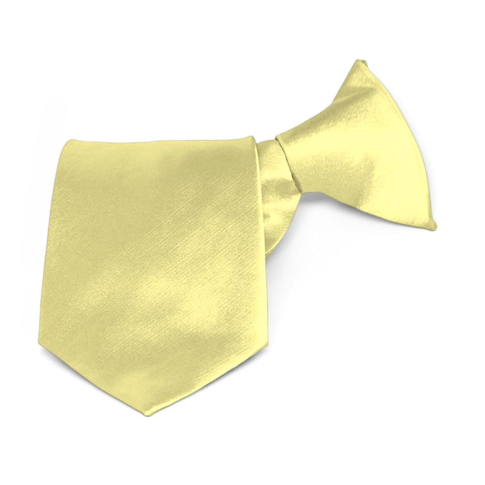 Boys' Butter Yellow Solid Color Clip-On Tie