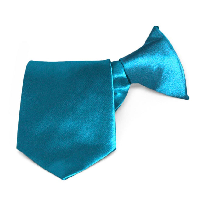 Boys' Caribbean Blue Solid Color Clip-On Tie
