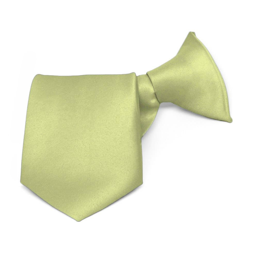 Boys' Celery Green Solid Color Clip-On Tie, 8