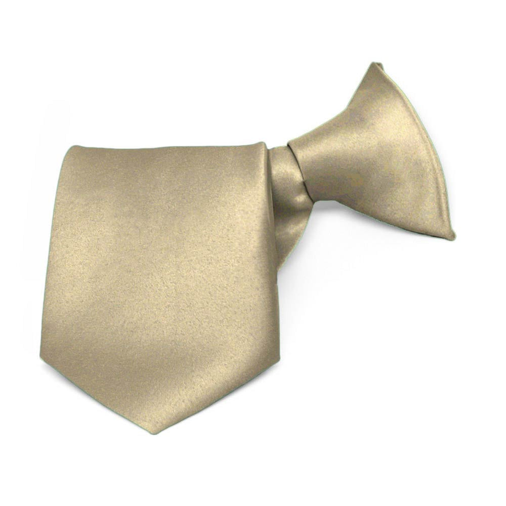Boys' Champagne Beige Solid Color Clip-On Tie