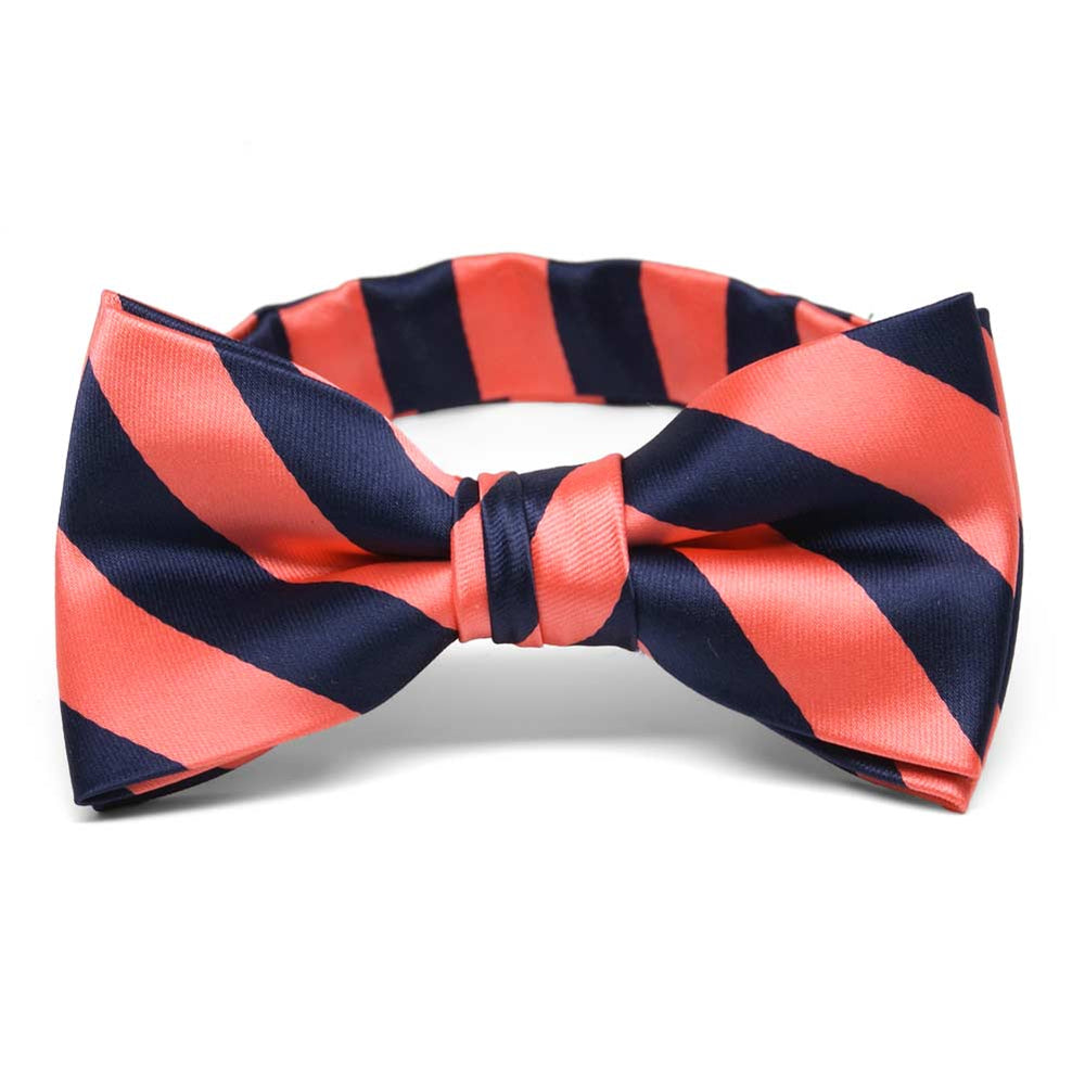 Boys' Bright Coral and Navy Blue Striped Bow Tie