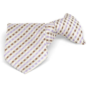 Boys' Cream George Plaid Clip-On Tie