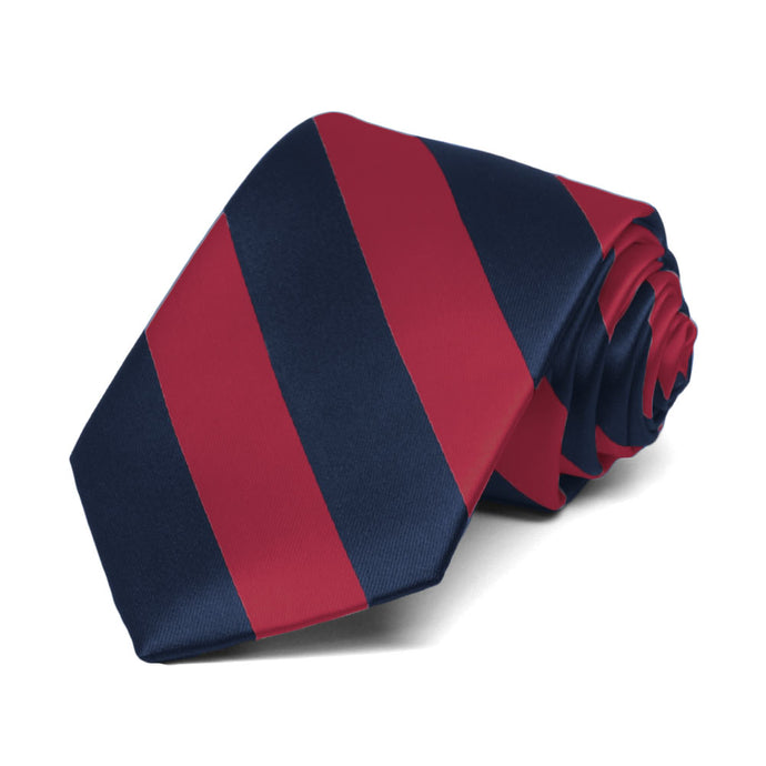 Boys' Crimson Red and Navy Blue Striped Tie