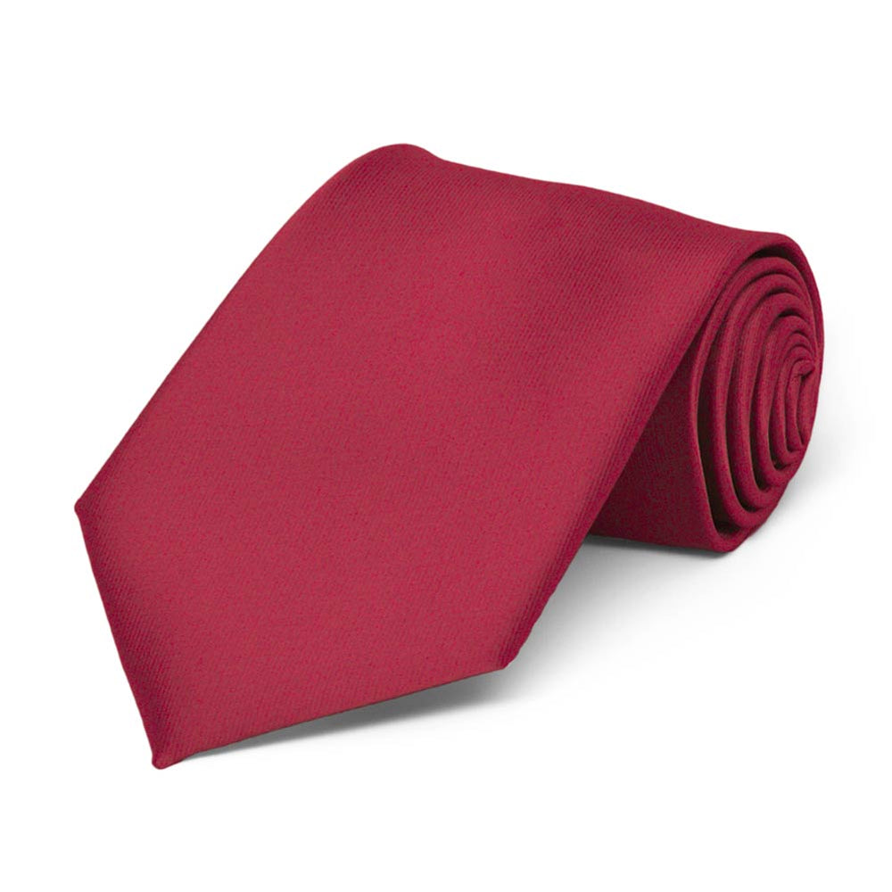 Boys' Crimson Red Solid Color Necktie