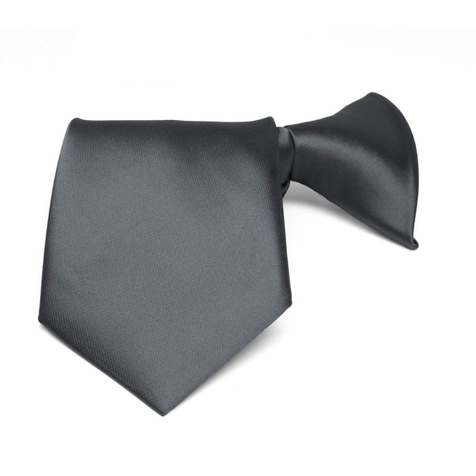 Boys' Dark Gray Solid Color Clip-On Tie