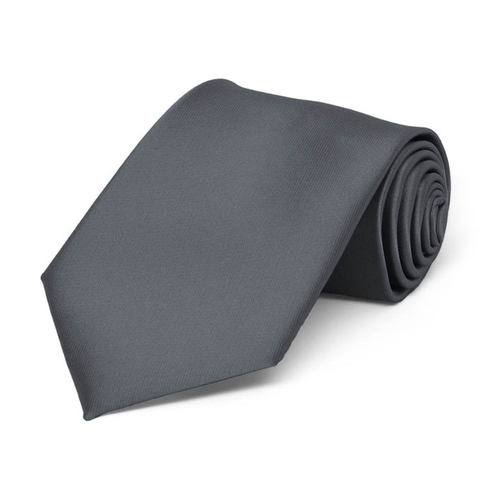 Boys' Dark Gray Solid Color Necktie