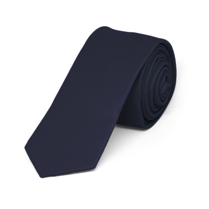 Boys' Dark Navy Blue Skinny Solid Color Necktie, 2
