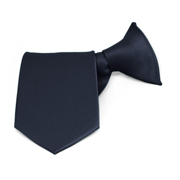 Boys' Dark Navy Blue Solid Color Clip-On Tie