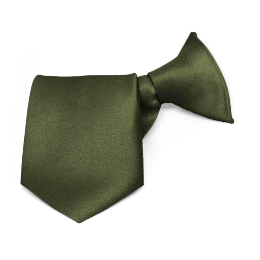 Boys' Dark Olive Green Solid Color Clip-On Tie