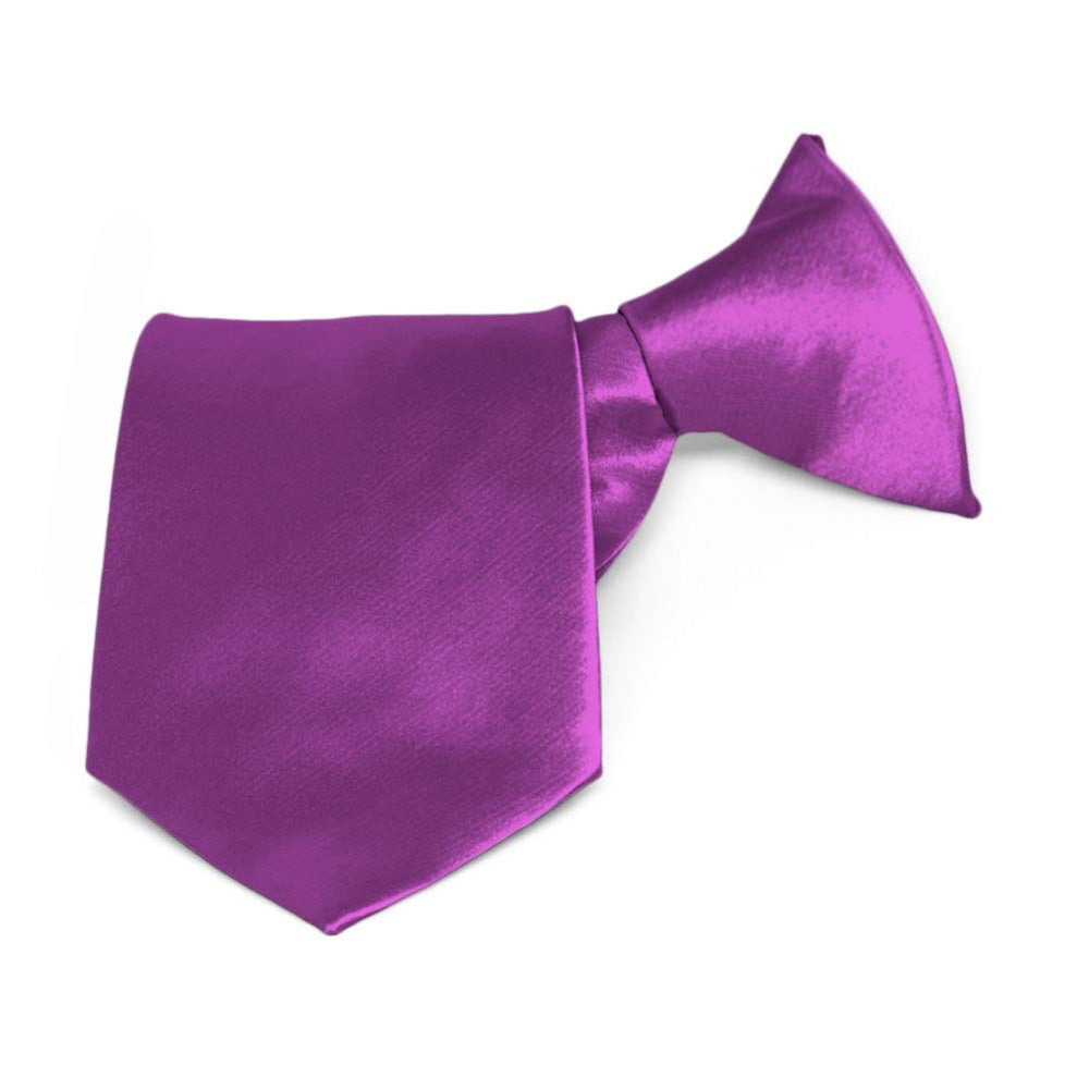 Boys' Dark Orchid Solid Color Clip-On Tie, 8