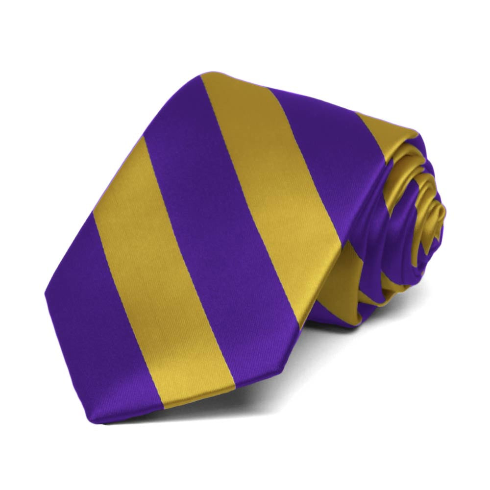 Boys' Dark Purple and Gold Striped Tie