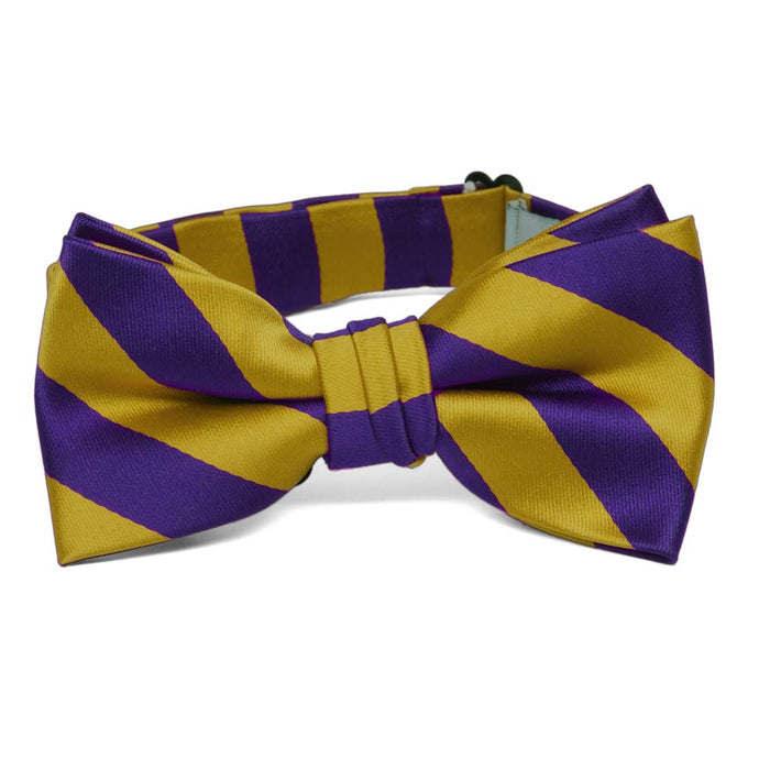 Boys' Dark Purple and Gold Striped Bow Tie