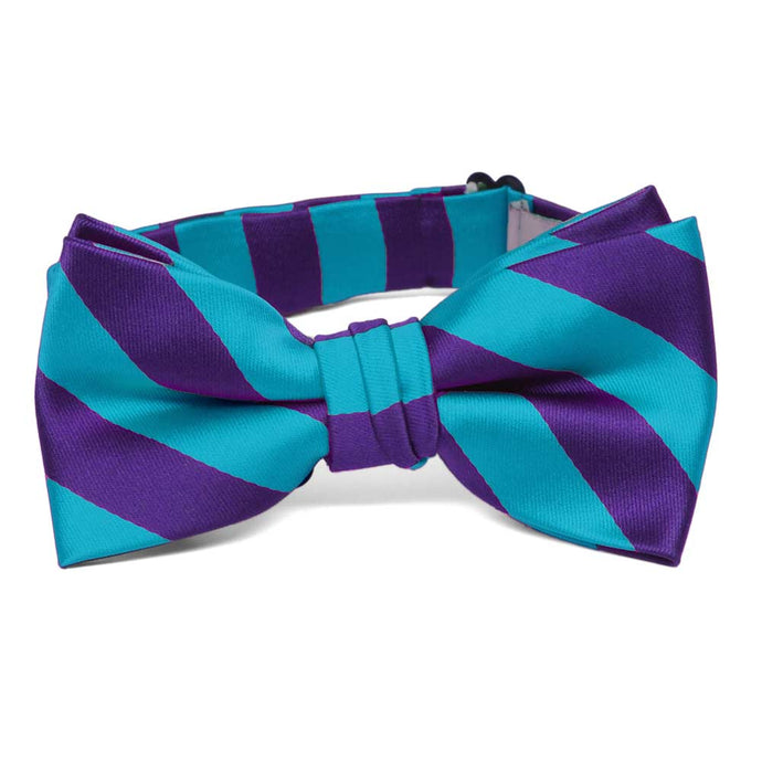 Boys' Dark Purple and Turquoise Striped Bow Tie