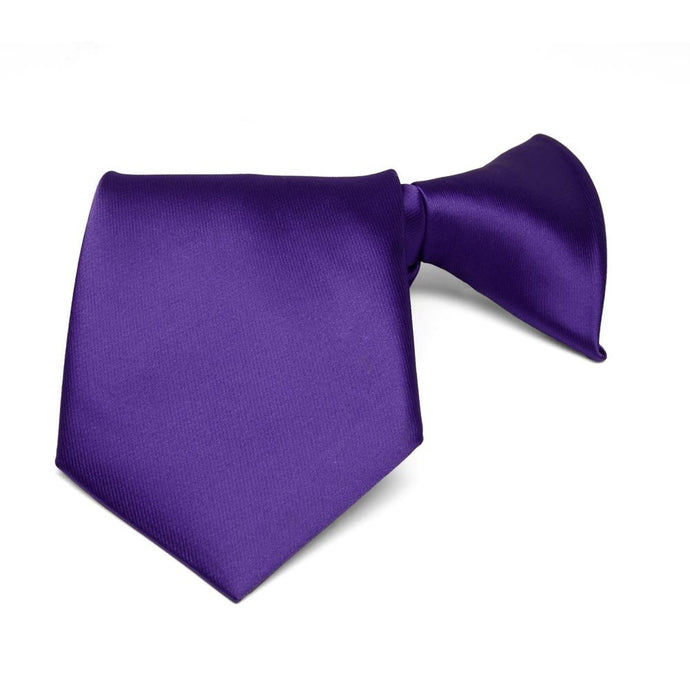 Boys' Dark Purple Solid Color Clip-On Tie