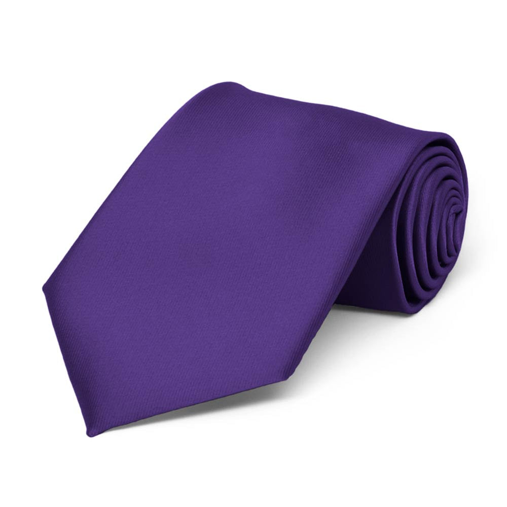 Boys' Dark Purple Solid Color Necktie
