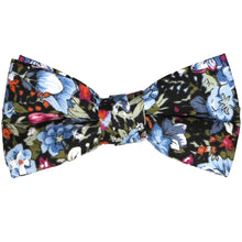 Load image into Gallery viewer, Boys dusty blue and black floral bow tie