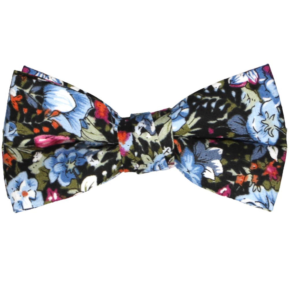 Boys dusty blue and black floral bow tie